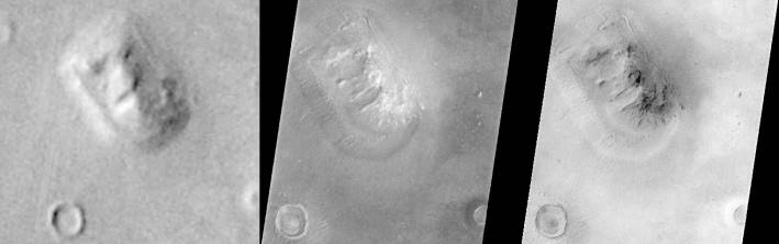 Марсианский Сфинкс. Викинг 1 фото 1976 года, Mars Global Surveyor (MGS)  фото 1998 года и MGS  фото 2001 года. (Фото: NASA)